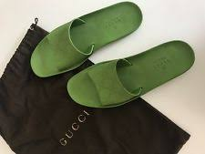 100 Authentic Gucci Logo Rubber Pool Beach Slippers Slides In Green Sz 395 95
