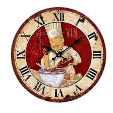 kiaotime 34 3 cm vintage wanduhr italienische kochen chef uhr nicht tickende uhr küche holz wanduhr