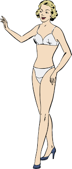 Clipart of a Retro Blond Female Model in Undergarments