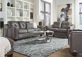 Cindy Crawford Home Marcella Gray Leather 3 Pc Living Room