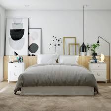 homecho nachttisch nachtschrank in weiß große bettkommode aus holz mit 2 schubläden für schlafzimmer wohnzimmer büro 50 34 5 60 5cm