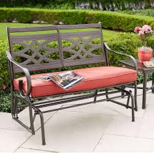 Outdoor Bench Cushions Home Depot by Hampton Bay Middletown Patio Glider With Chili Cushions D11200 G