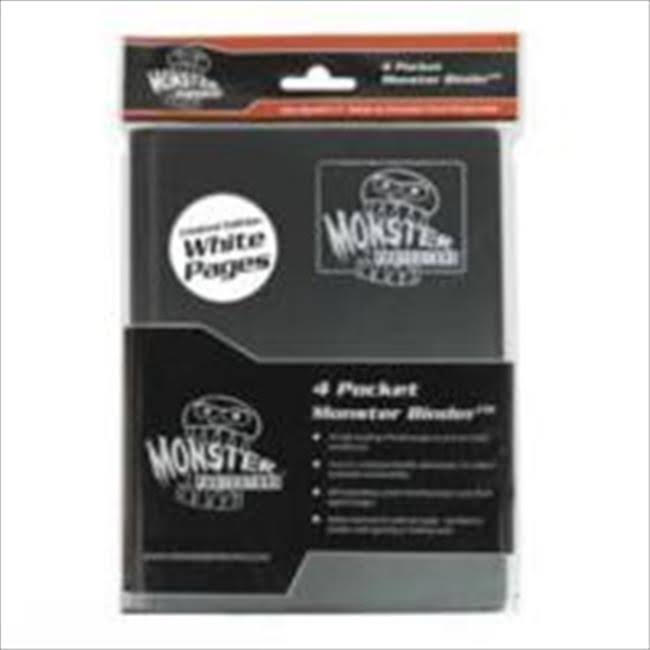 Monster Protector Album Binder - 4 Pocket, Black, with 20 White Pages Card Storage