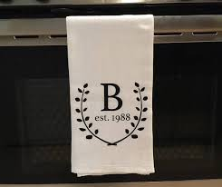 Initial Tea Towel Monogram Personalized