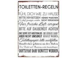 wandschild metallschild toiletten regeln lustig dekoschild
