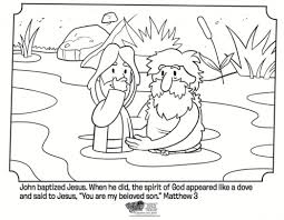 Kids Coloring Page From Whats In The Bible Featuring Jesus Being Baptized By John