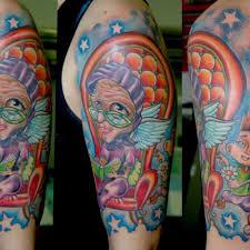 Colorful Grandma Half Sleeve Tattoo
