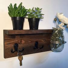 Wood Key Rack With Shelf Entryway Storage Rustic Holder Wall