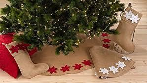 Fennco Styles Felicia Poinsettia Burlap Holiday Christmas Tree Skirt53 Skirt White