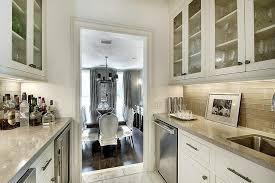 butlers pantry with gray tile backsplash transitional kitchen