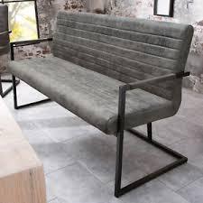 details zu industrial design freischwinger bank loft 160cm vintage grau armlehne sitzbank