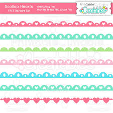 Scallop Hearts Borders Set SVG Cutting Files Clipart