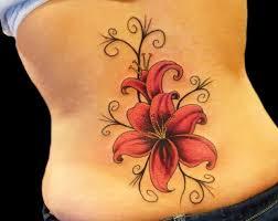 Hawaiian Flower Tattoo On Lower Back