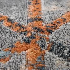 wohnzimmer teppich vintage kurzflor geometrisches design in