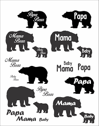 Cute Papa Mama And Baby Bear File Download SVG EPS PNG Art Clipart Shirts