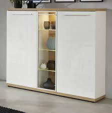 details zu highboard kommode hochglanz weiß ast eiche schrank 140 cm wohn esszimmer odino