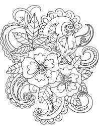 Click To See Printable Version Of Flowers With Paisley Patterns Coloring Page