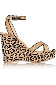 jimmy choo papyrus leopard print cork wedge sandals in natural lyst