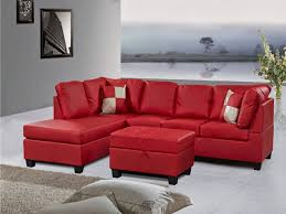 living room red leather sectional couch with chaise and storage