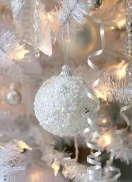 White Glittered Snowball Ornament