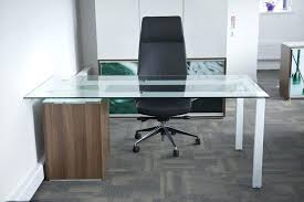 Office Table Glass Top Desk With Wood And Single Legs Home Corner