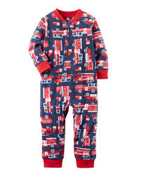 1-Piece Firetruck Fleece Footless PJs | Carters.com