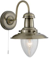 wall light seeded glass shade pull switch antique brass