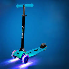 Rimable Foldable Max Kick Scooter With LED Light Up Wheels Color Blue Sporting Goods Outdoor Recreation Riding Scooters