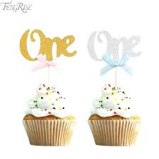 1st birthday cupcake toppers first birthday cupcake toppers gold silver boy girl happy birthday party decoration