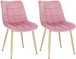 eugad 0672by 2 2x esszimmerstühle küchenstuhl polsterstuhl wohnzimmerstuhl sessel sitzfläche aus samt metall gold beine rosa