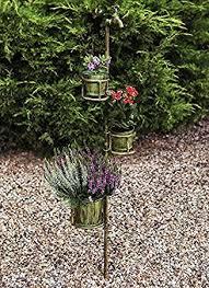 Triple Tap Stake Vintage Verdigris Rustic Metal Garden Bucket Planter Flower Plant Stand Pot
