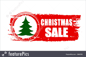 Christmas Sale And Tree On Red Drawn Banner Royalty Free Stock Illustration