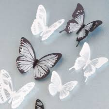 18Pcs Black And White Crystal Butterfly 3D Wall Stickers PVC Birthday Cake Home Decor Art DIY