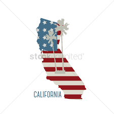 California State Map With Palm Trees Vector Graphic