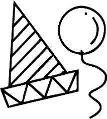 party hat and balloon clipart · birthday party hat clipart · black and white