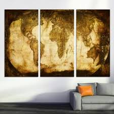 Rustic World Map 3 Panel Split Triptych Canvas Print Wall Art Giclee For Home Office Decor Interior Design Bown And Bronze