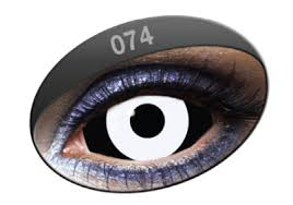 Blue Prescription Halloween Contacts by Phantasee Sabretooth White Black Sclera Lenses Pair 074