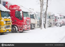 Trucks Parking Severe Winter Weather Storm Prohibition Traffic Heavy ...