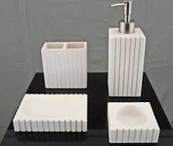 details zu seifenspender marmor set 4 tlg badezimmer garnitur bad badset matt seifenschale