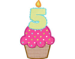 Fifth Birthday Cupcake With Candle APPLIQUE Machine Embroidery Designs