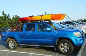 100 Acadia Truck BAR HARBOR MAINE JULY 5 Toyota Tacoma SUV Loaded With Kayak