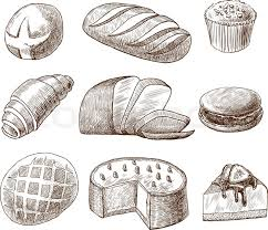 Puff pastry and bread assortment doodle food icons set vector illustration Stock Vector