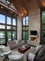 rustic pendant lighting living room rustic with clerestory windows