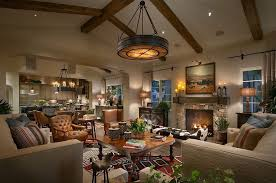 rustic living room with pendant light by home stratosphere