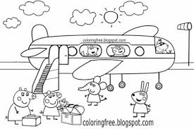 Easy Emily Elephant Holiday Airplane Drawing Family Peppa Pig Coloring Pages For Toddlers Shading