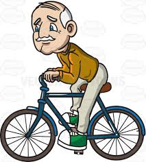 A Grandpa Riding Bicycle