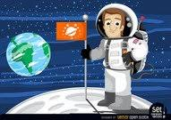 Astronaut with flag in the moon Clip Arts Clipart