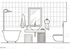 architektonische linear skizze badezimmer interieur vorderseite stock vektor und mehr bilder 2015