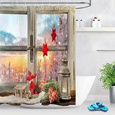 lb fröhliche weihnachten duschvorhang holzfenster winterlandschaft bad vorhänge 180x200cm polyester lang wasserdicht anti schimmel badezimmer