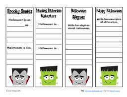 Poems About Halloween That Rhymes by Halloween Figurative Language Poetry Practice Bookmarks By